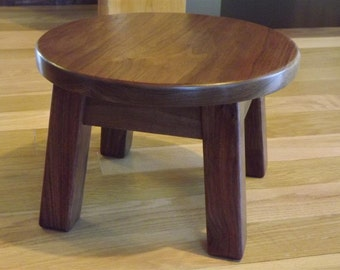 "Reclaimed wood/ round stool/ step stool/ black walnut/ mission style/ farmhouse/ 8""- 10"" - 12"" H"