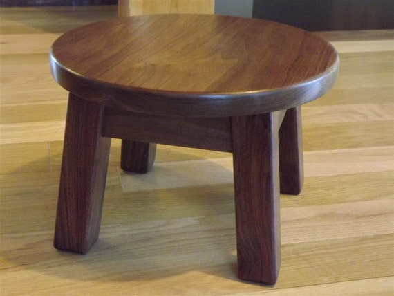 Reclaimed wood round stool step black walnut mission
