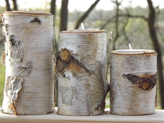 Rustic log candles/ birch/ tree branch/ candle holder/ tealight