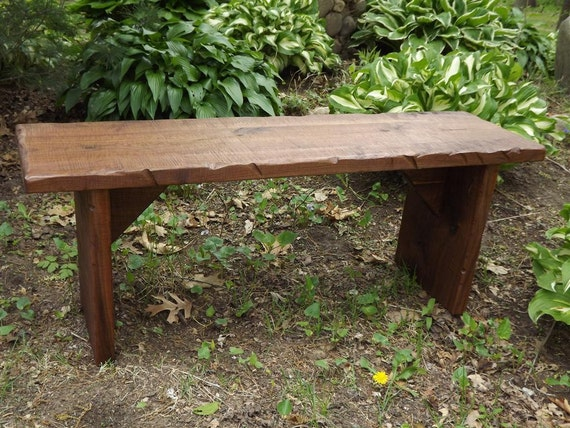 Items Similar To Bench Coffee Table Reclaimed Wood Rustic Solid Black Walnut Rough Sawn