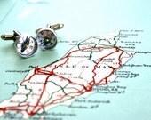 cuff links - miniature working compass