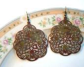 earrings - vineyard filigree - green and purple metal