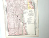 antique map of the city of chicago and the state of illinois - from 1905 atlas book