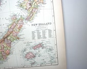 antique map from 1890 atlas book: new zealand, fiji, tasmania