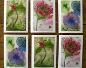 Wildflower Greeting Cards Set of Six Woodland Botanical Art Prints