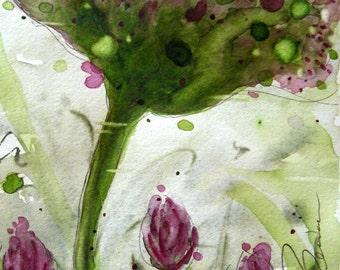 Wildflower Floral Watercolor Art Print, 8 x 10 Wildflower Art
