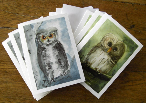Owl Art Greeting Cards Set of 6 Watercolor Art Print Blank Cards 5 x 7