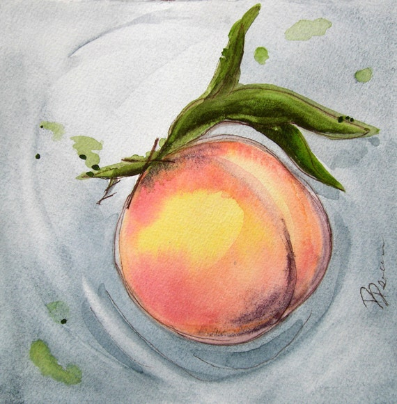 Peach Watercolor Original Still Life