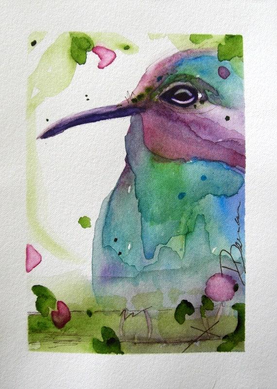 Watercolor Hummingbird Original Painting