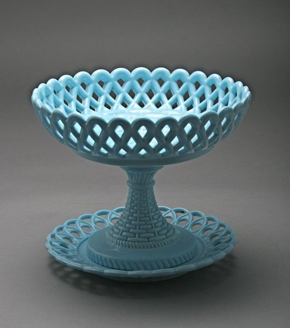 Atterbury Glass Co. Blue Milk Glass Flared Lattice Compote and Plate
