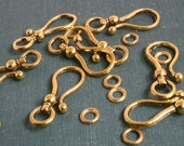 Antiqued Gold-plated Pewter Clasp - Hook-and-Eye