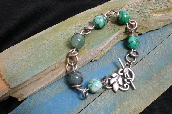 Blue Green Agate Toggle Fairy Bracelet