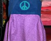 Purple Peace Patchwork Backless Tank