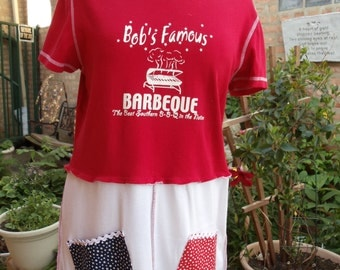 SALE,WAS 55.00,Barbeque Wearable Fun top,Upcycled,Eco Friendly,Cotton,       OOAK