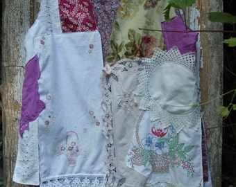 SALE,WAS 145.00   Summer Memory Vest,Flowing Vintage Wearable Art of Linen,Floral and Lace,Upcycled,Eco Friendly,     OOAK