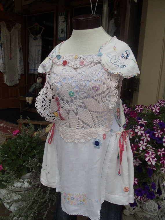 SALE,WAS 110.00,Little Miss Scarlet,Vintage linens,crochet,buttons,ribbon Dress/Tunic , Upcycled,Eco Friendly,  OOAK