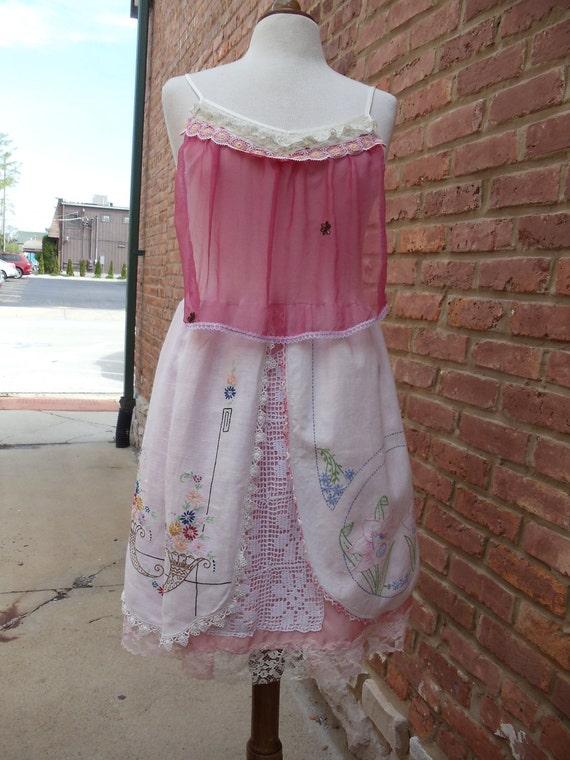 SALE,WAS 125.00,Vintage Linen Dress,Sari Silk Dress,Upcycled, Eco Friendly, Romantic Dress,Vintage Dress,  OOAK