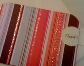 Thank You Cards (set of 6) Blank Pink and Brown Striped.