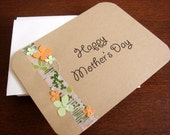 Mother's Day Card. Peach and Green Floral Design. Kraft version