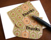 thank you cards. mini eco-friendly cards. orange and green modern pattern (set of 2)