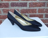 SALE Black Silk Satin Bruno Magli Pumps - Italy - Never Worn - Pointed Toe - Formal Special Occasion - Pin Up - 9 - 9.5 - Narrow - AAA