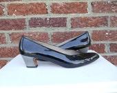 SALE Black Patent Leather Salvatore Ferragamo Pumps with Gunmetal Mirror Heel - Mod - Retro - Low Heel - Italy - Size 10.5 AAAA - Narrow