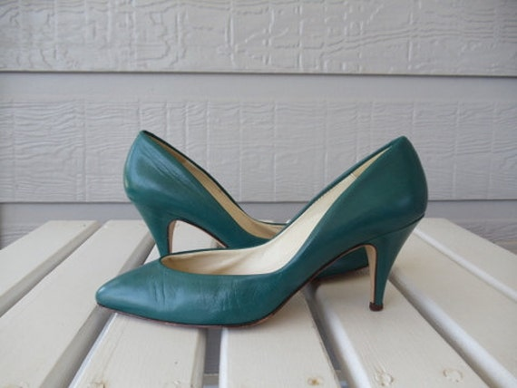 Dark Teal Bandolino Pumps - Leather Heels - Green - Jade - Bandolino - Made in Italy - size 6.5