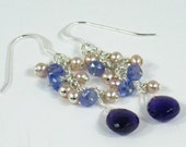 70% Off / Lilac Pearl Earrings Tanzanite Amethyst Sterling Silver