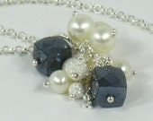 RESERVED - Necklace Freshwater Pearls Black Spinal Sterling Silver