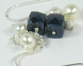 RESERVED Earrings Freshwater Pearls Black Spinal Sterling Silver