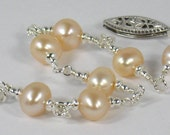 30% Off/ Champagne Pearl Bracelet Sterling Silver