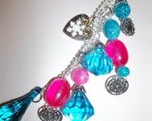 Aqua Blue and Pink Key Bling Key Chain and Purse Jewelry