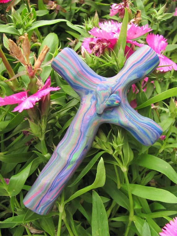 Beautiful Blue and Pink swirled Handprint Polymer Clay Prayer Cross Turning Crosses