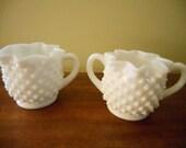 Vintage Fenton Milk Glass Hobnail Cream And Sugar Set Star Pattern