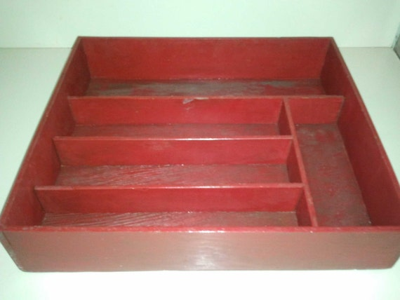Vintage Large Red Divided Wooden Box