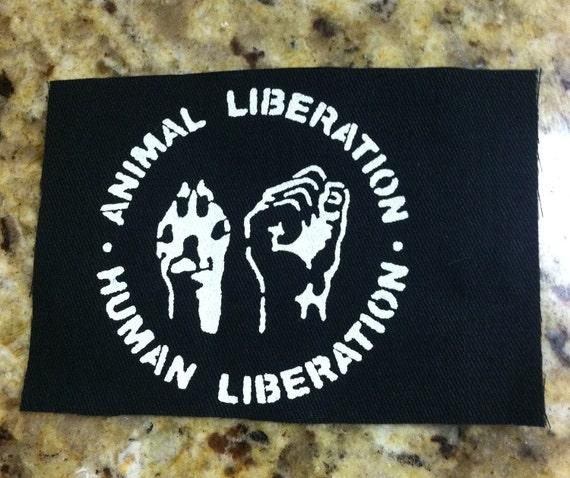 Animal Liberation, Human Liberation (off white on black)