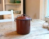 RESERVED FOR Jamie (jamiannf) - Antique French Enamel Lunch Pail