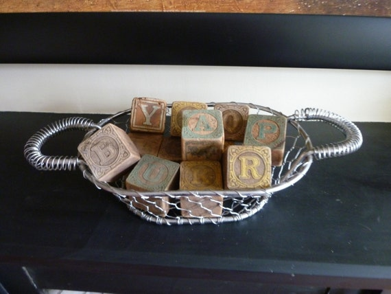 Vintage/Antique Wood Alphabet ABC Blocks