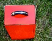 Vintage Orange Metal Card File Drawer