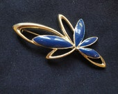 Trifari Brooch, navy enamel and gold tone