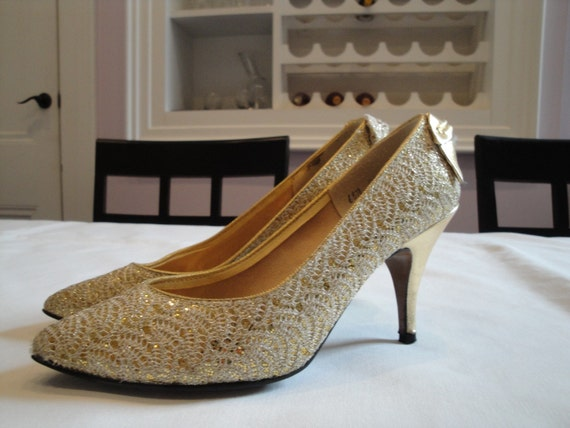 Glittery Gold Pumps HALF OFF SALE