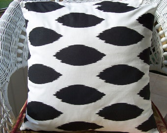 Black White Chipper Throw Pillow COVER Decorative Accent Cushion Pillow for Couch Sofa Bed Cushion Cover Two 18 Inch Black Ikat Toss Pillow