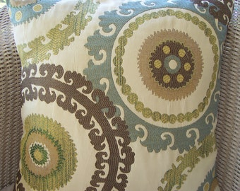 """Two 22"""" Suzani Blue Brown Throw Pillow Cushion COVER Euro Sham Decorative Couch Pillow Suzani Ikat Brown Blue Green Bedding Decor Accent"""