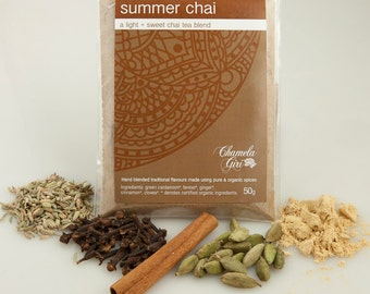Organic Summer Chai Masala 50 gram bag, makes about 50 cups