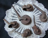 Lot of 6 Antique Rusted Wooden Castor Wheels