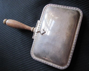 Antique Silverplate Silent Butler Crumb Tray Serving Piece Wood Handle