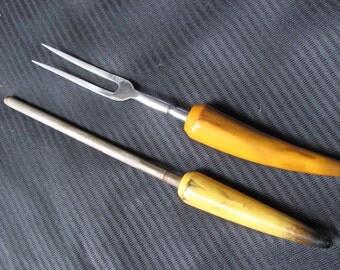 Set of Knife Sharpener and Meat Carving Fork - Horn