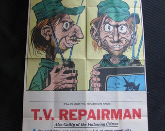 Vintage WANTED Poster - TV Repairman 10 x 18