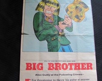 Vintage WANTED Poster - BIG Brother 10 x 18