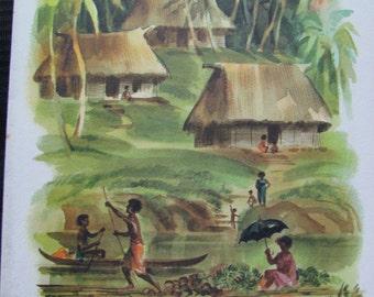 Vintage Matson Lines Cruise Ship Menu - Illustration by Macouillard - Fiji
